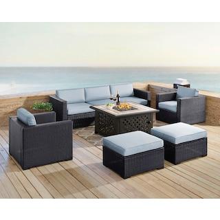 Isla 2-Piece Outdoor Sofa, 2 Armchairs, 2 Ottomans, and Tuscan Firetable - Mist