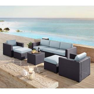 Isla 2-Piece Outdoor Sofa, 2 Armchairs, Coffee Table, 2 Ottomans - Mist