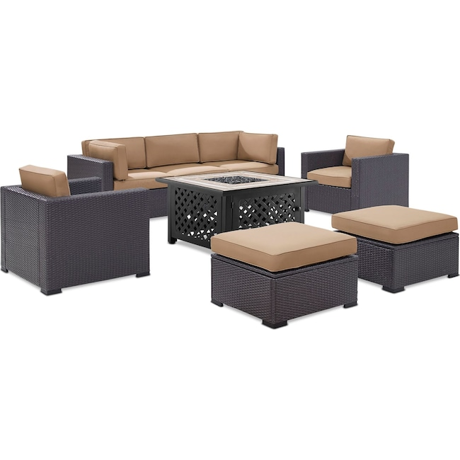 Outdoor Furniture - Isla 2-Piece Outdoor Sofa, 2 Armchairs, 2 Ottomans, and Tuscan Firetable