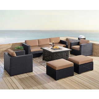 Isla 2-Piece Outdoor Sofa, 2 Armchairs, 2 Ottomans, and Tuscan Firetable - Mocha
