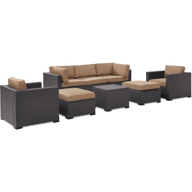 Outdoor Furniture - Isla 2-Piece Outdoor Sofa, 2 Armchairs, Coffee Table, 2 Ottomans