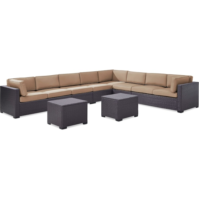 Outdoor Furniture - Isla 3-Piece Outdoor Sectional, 2 Armless Chairs, and 2 Coffee Tables