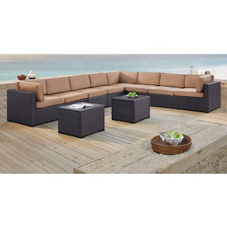 Isla 3-Piece Outdoor Sectional, 2 Armless Chairs, and 2 Coffee Tables - Mocha