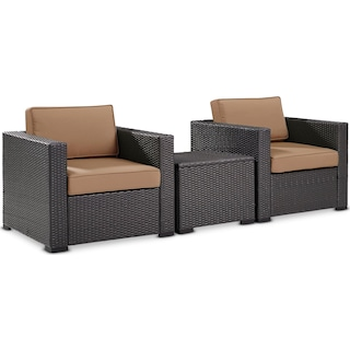 Isla Set of 2 Outdoor Chairs and Coffee Table - Mocha