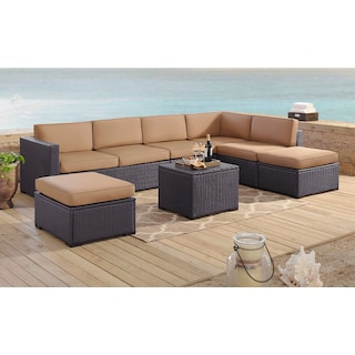 Isla 3-Piece Outdoor Sectional, Coffee Table, and 2 Ottomans - Mocha