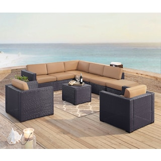 Isla 3-Piece Outdoor Sectional, 2 Armchairs, Coffee Table, and Ottoman Set - Mocha