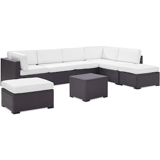 Isla 3-Piece Outdoor Sectional, Coffee Table, and 2 Ottomans - White