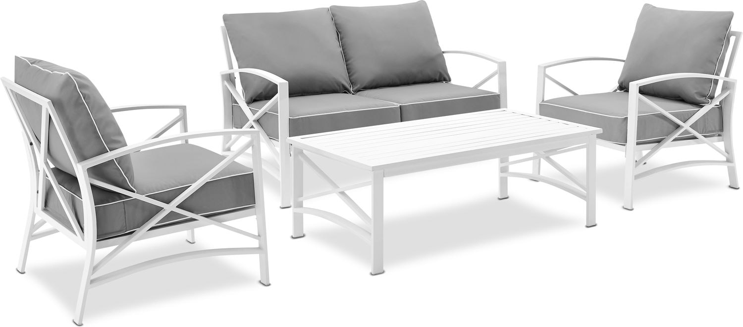 Outdoor Furniture - Clarion Outdoor Loveseat, 2 Chairs, and Coffee Table Set
