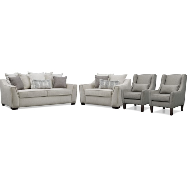 Living Room Furniture - Roxie Sofa, Chair and a Half, and 2 Accent Chairs Set - Gray
