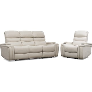 Jackson Triple-Power Reclining Sofa and Recliner Set - Ivory