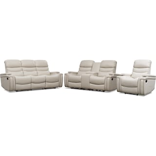 Jackson Manual Reclining Sofa, Loveseat, and Recliner Set - Ivory