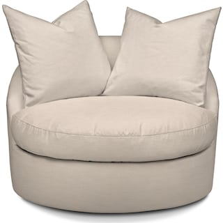 Plush Swivel Chair - Dudley Buff