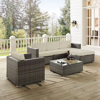Jacques 3-Piece Outdoor Sofa, Ottoman, Arm Chair, and Coffee Table Set - Gray