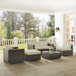 Lakeside 2-Piece Outdoor Loveseat, Arm Chair, Armless Chair, Ottoman, and Coffee Table Set
