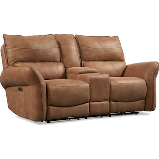 Aspen Dual Power Loveseat - Tan