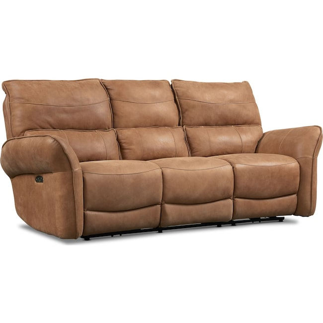 Living Room Furniture - Aspen Dual Power Sofa - Tan