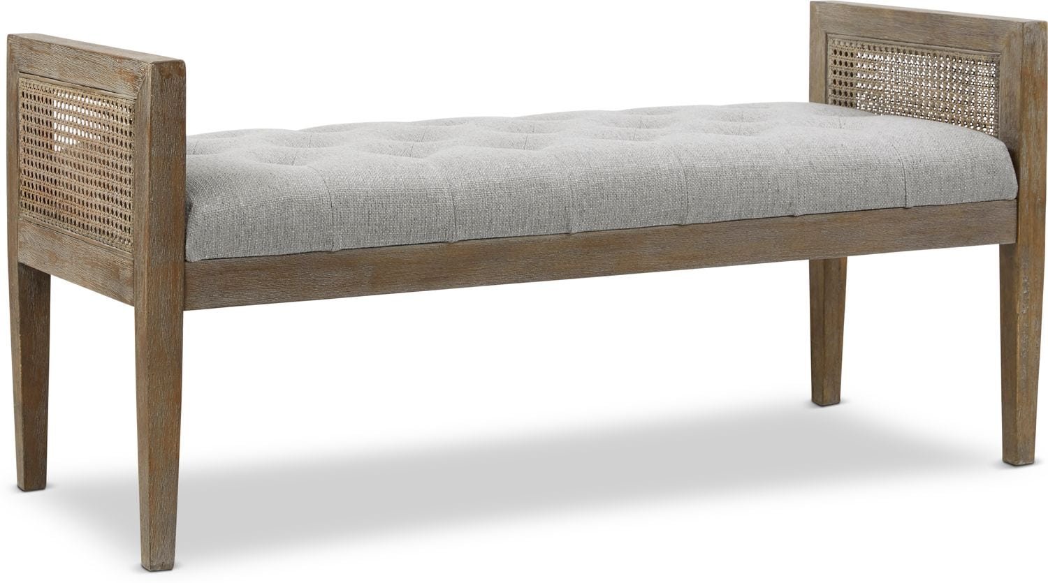 Accent and Occasional Furniture - Augusta Rattan Bench - Gray