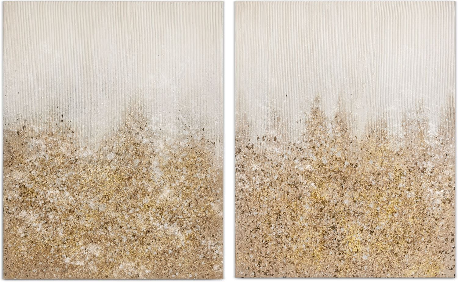 Home Accessories - Gold Glimmer 2-Piece Canvas Wall Art