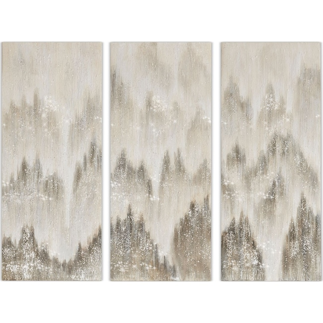 Home Accessories - Sterling 3-Piece Canvas Wall Art - Gray