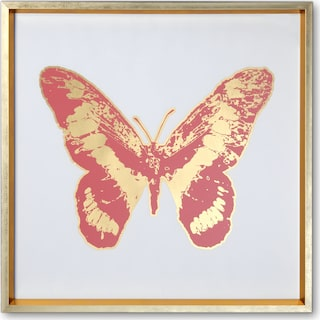 Butterfly Wall Art - Pink/Gold