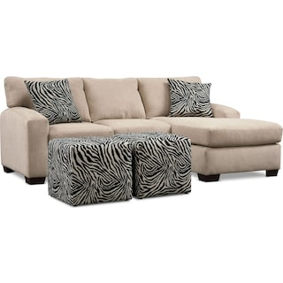 Nala Chaise Sofa and 2 Cube Ottomans