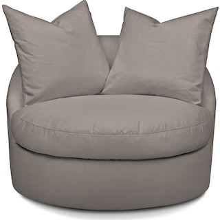 Plush Swivel Chair - Gray