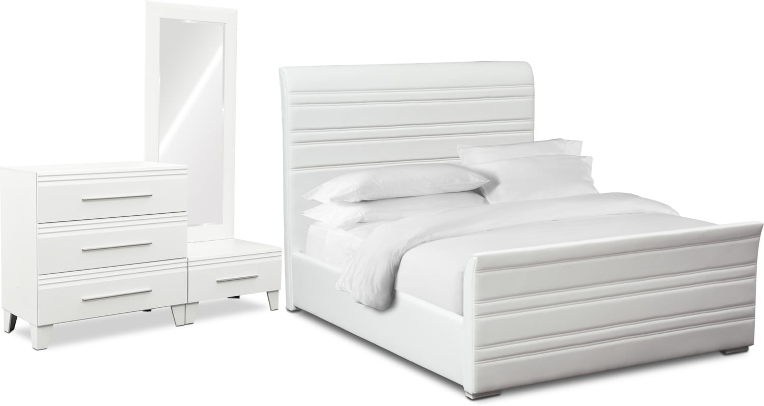 Bedroom Furniture - Allori 5-Piece King Upholstered Bedroom Set with Chest - White
