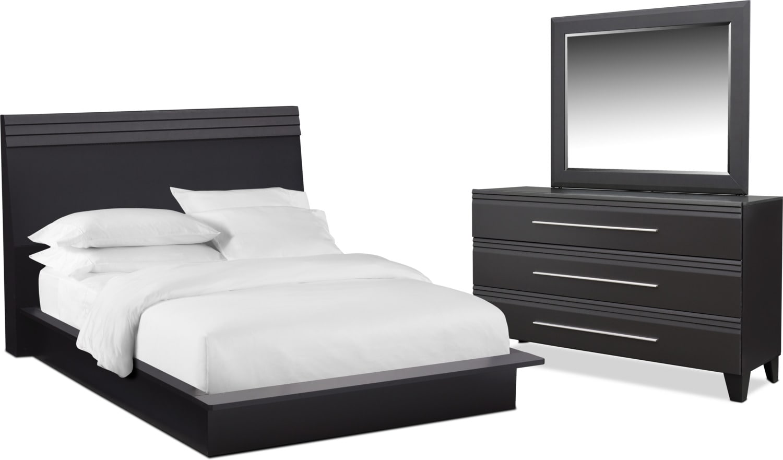 Bedroom Furniture - Allori 5-Piece Bedroom Set with Dresser and Mirror