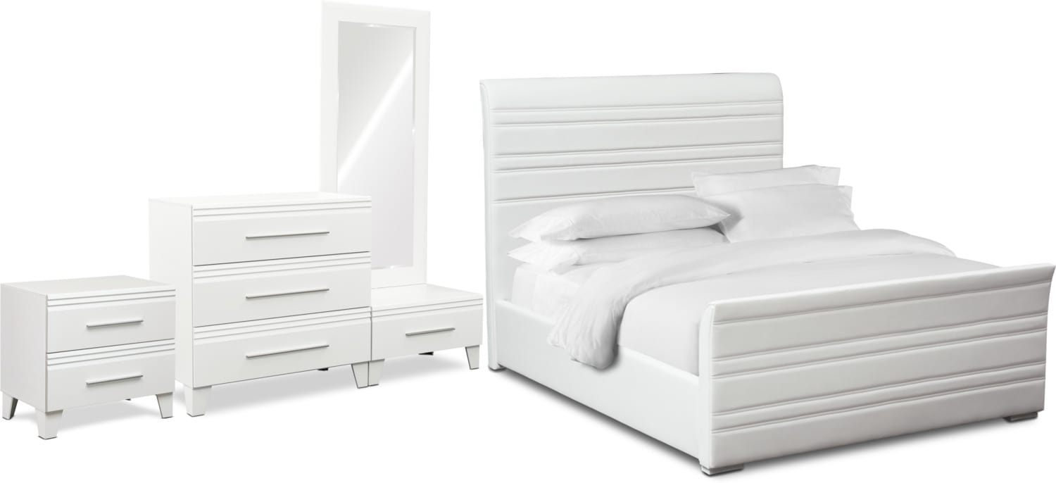 Bedroom Furniture - Allori 6-Piece King Upholstered Bedroom Set with Chest - White