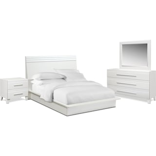 Allori 6-Piece Queen Panel Bedroom Set with Nightstand, Dresser and Mirror - White