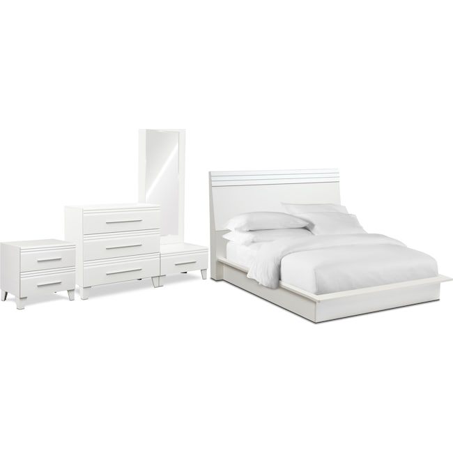Bedroom Furniture - Allori 6-Piece Panel Bedroom Set with Chest