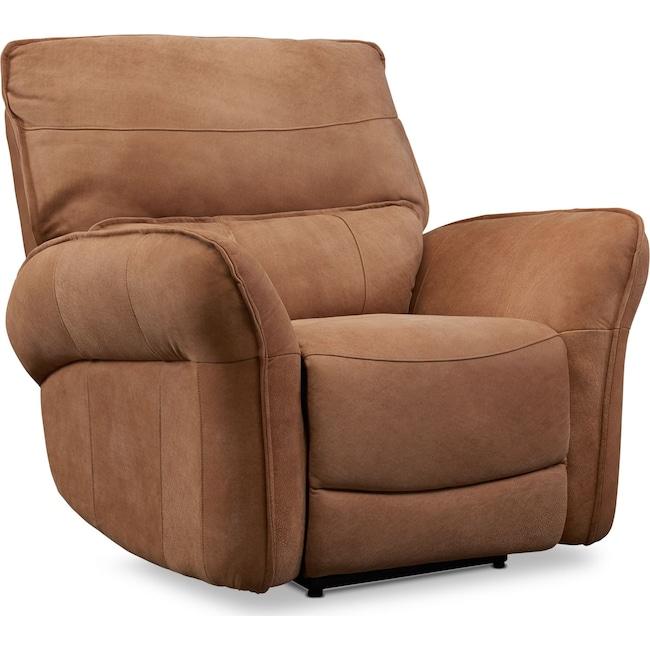 Living Room Furniture - Aspen Dual Power Recliner - Tan