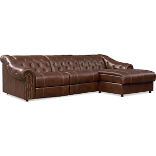 Kensington 2-Piece Dual Power Sectional with Right Facing Chaise-Brown