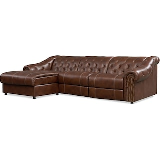 Kensington 2-Piece Dual Power Sectional with Left Facing Chaise-Brown