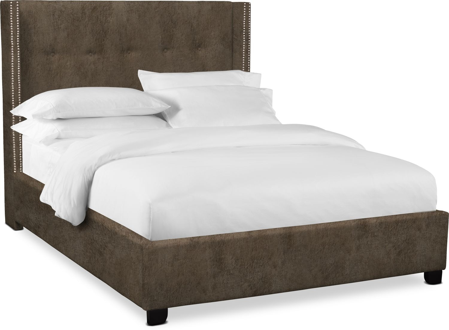 "Bedroom Furniture - Carter 56"" Upholstered Shelter Bed"