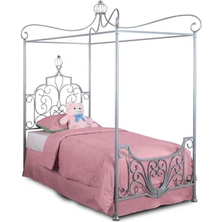 Princess Twin Canopy Bed - Gray