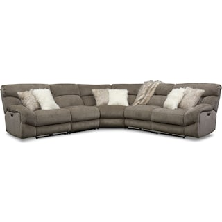 Wave 5-Piece Dual-Power Reclining Sectional with 3 Reclining Seats - Ash