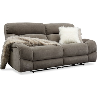 Wave Dual-Power Reclining Sofa - Ash