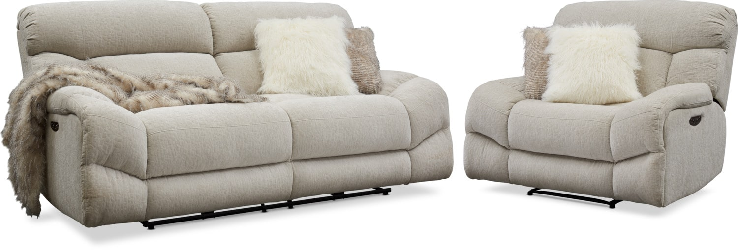 Peachy Wave Dual Power Reclining Sofa And Recliner Set Ncnpc Chair Design For Home Ncnpcorg