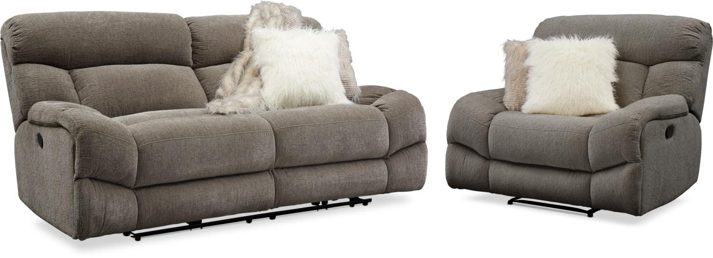 Living Room Furniture - Wave Manual Reclining Sofa and Recliner Set