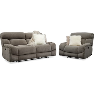 Wave Manual Reclining Sofa and Recliner Set - Ash