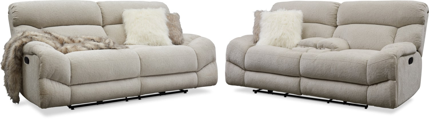 Living Room Furniture - Wave Manual Reclining Sofa and Loveseat Set