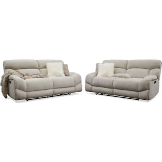 Wave Manual Reclining Sofa and Loveseat Set - Ivory