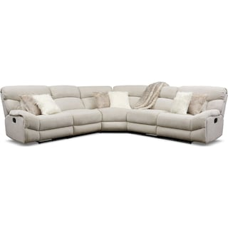 Wave 5-Piece Manual Reclining Sectional with 3 Reclining Seats - Ivory