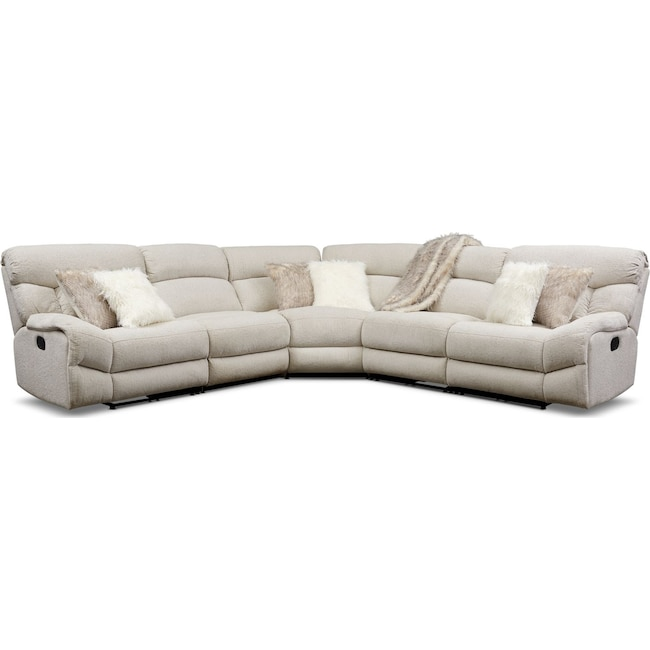 Living Room Furniture - Wave 5-Piece Manual Reclining Sectional with 3 Reclining Seats
