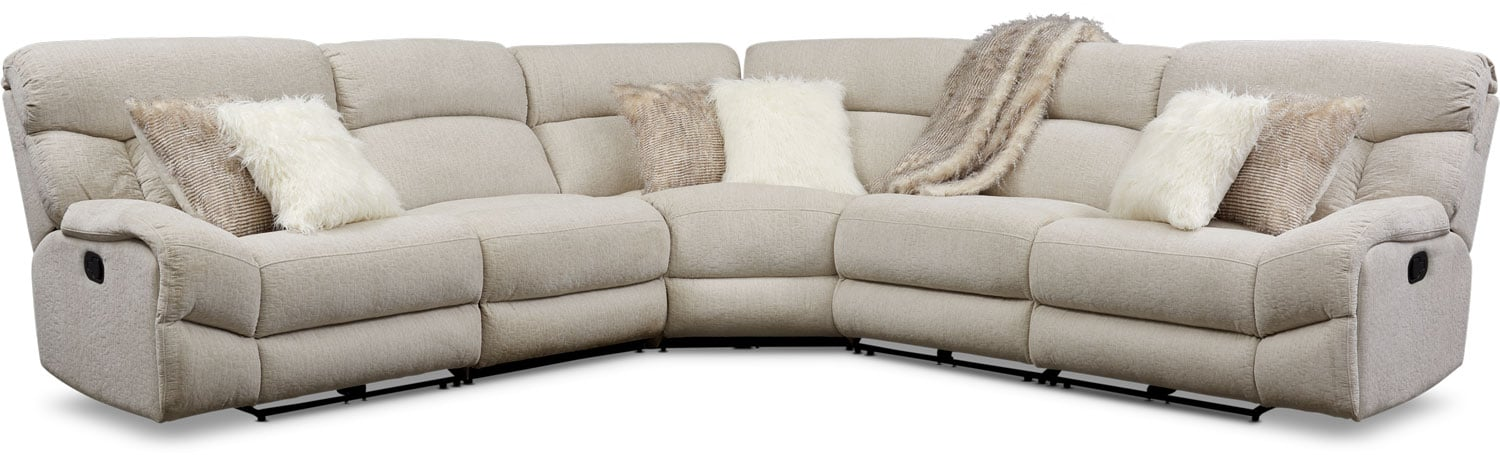 Living Room Furniture - Wave 5-Piece Manual Reclining Sectional
