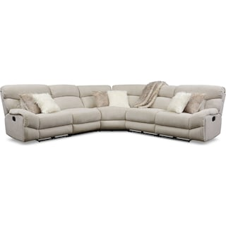 Wave 5-Piece Manual Reclining Sectional with 2 Reclining Seats - Ivory