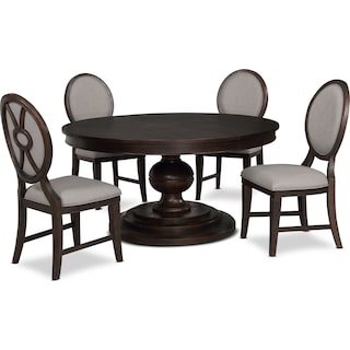 Wilder Round Dining Table and 4 Upholstered Chairs