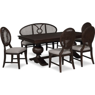 Wilder Rectangular Dining Table, 4 Side Chairs and Bench