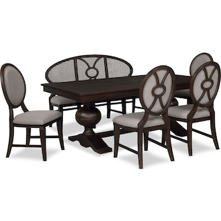 Wilder Rectangular Dining Table, 4 Upholstered Chairs and Bench